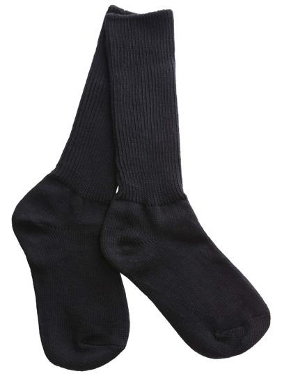 Black Ribbed Slouch Socks