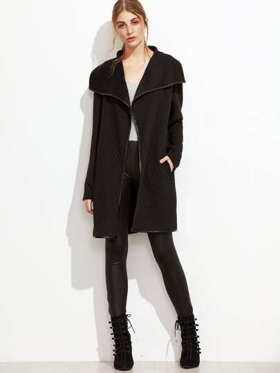 Black Faux Leather Binding Drape Collar Quilted Coat