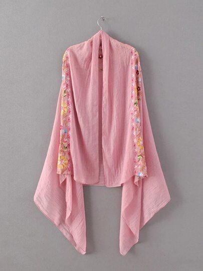 Розовый шифоновый шарф с цветочной вышивкой