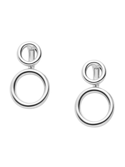 Silver Plated Hollow Circle Stud Earrings