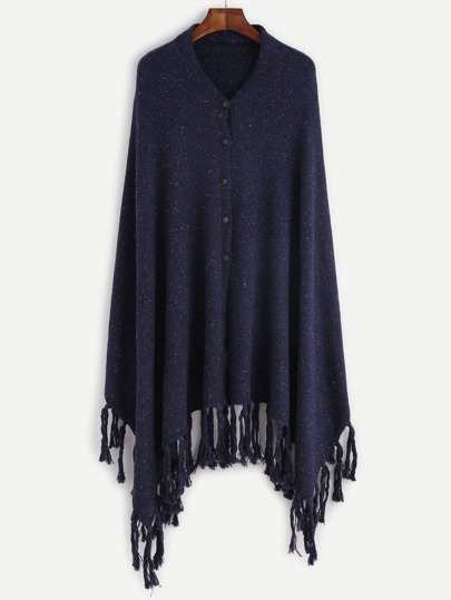 Navy Button Front Fringe Trim Fleck Poncho Cardigan