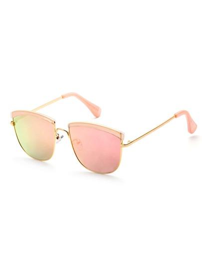 Metal Frame Pink Lens Sunglasses