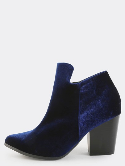 Pointy Smooth Velvet Ankle Boots NAVY