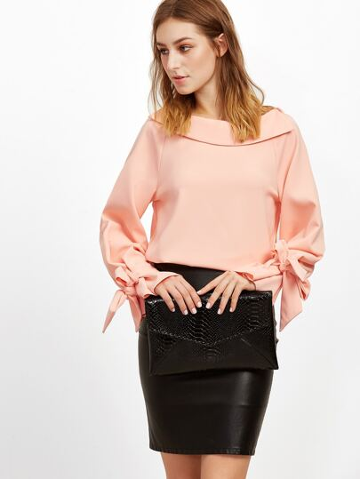Pink Foldover Boat Neck Bow Tie Cuff Blouse