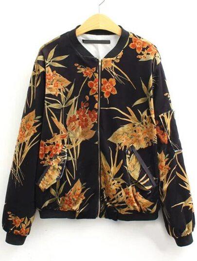 Black Floral Print Zipper Jacket