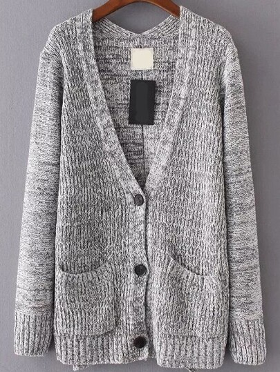 Grey Front Pocket Button Up Cardigan