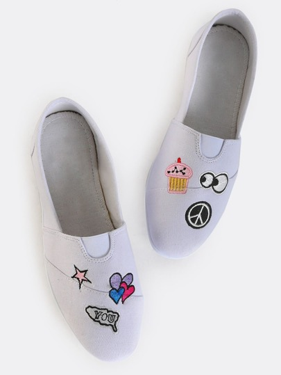 Patch Slip On Canvas Flats WHITE