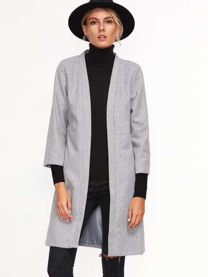 Grey Three Quarter Length Sleeve Open Front Coat