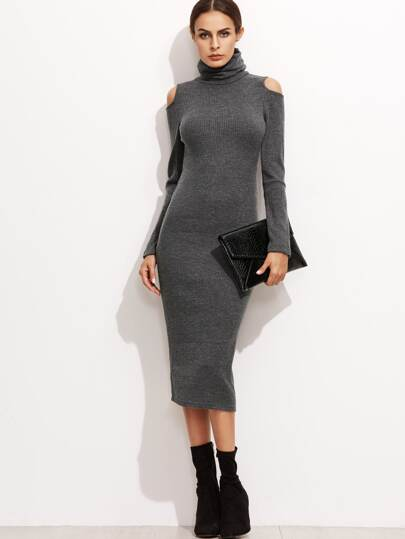 Grey High Neck Open Shoulder Ribbed Pencil Dress