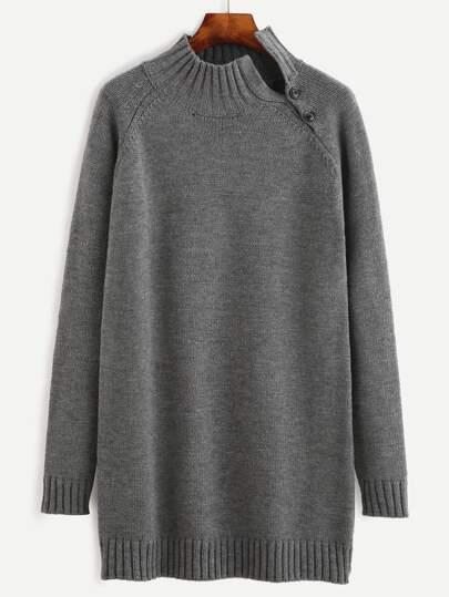 Grey Ribbed Trim Split Buttoned Neck Longline Sweater