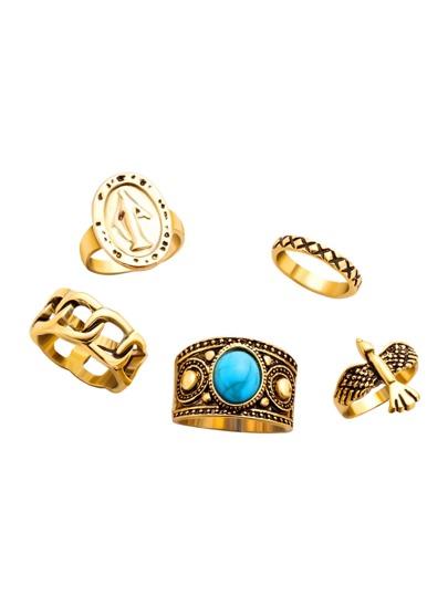 5PCS Gold Plated Turquoise Multi Shape Ring Set