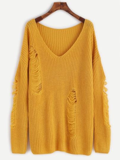 Pullover mit zerrissen Design Drop Schulter V-Ausschnitt-gelb