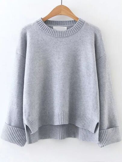 Grey Ribbed Trim Dip Hem Sweater