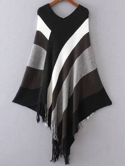 Color Block Double V Neck Fringe Poncho Sweater