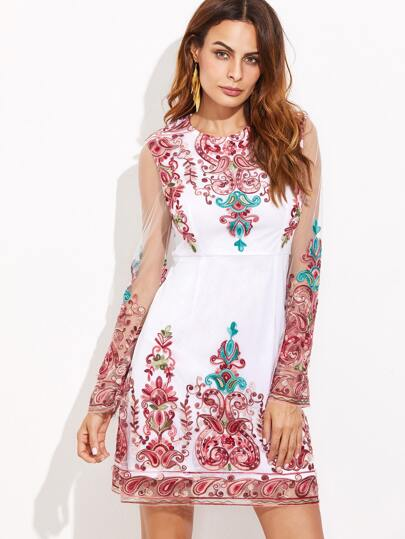 White Sheer Sleeve Embroidered Mesh Overlay Dress