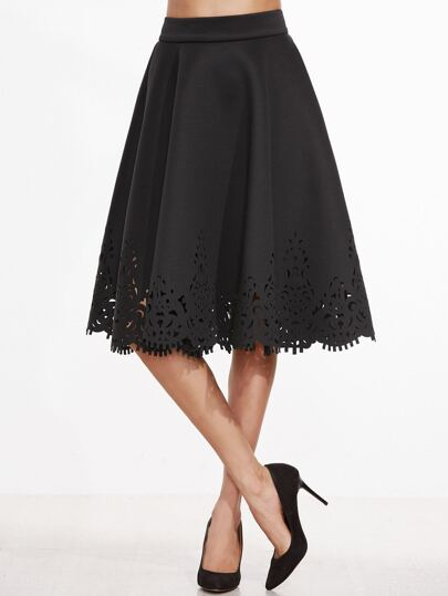 Black Laser Cut Out Zipper Back A Line Skirt