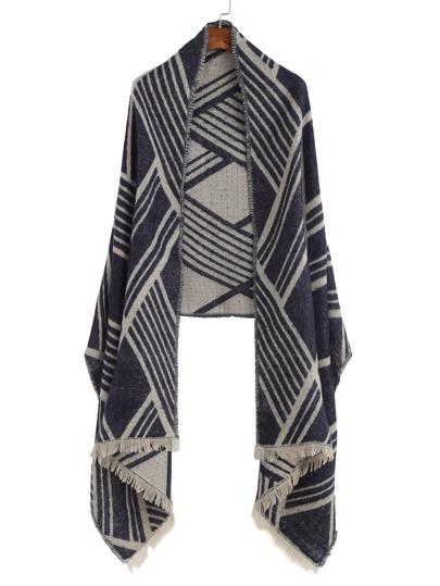 Сине-бежевый модный шарф шалью с геометрическим узором с бахромой