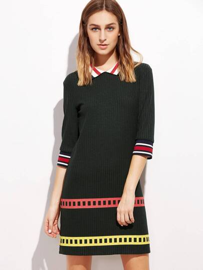 Black Striped Trim 3/4 Sleeve Ribbed Dress