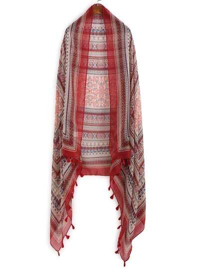 Красный модный шифоновый шарф с принтом и бахромой
