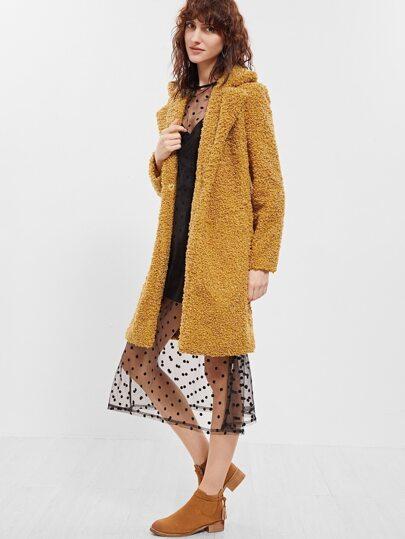 Mustard Notch Collar Hidden Button Fleece Coat