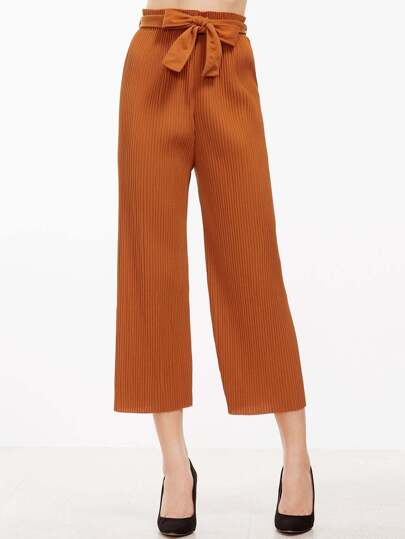 Khaki Pleated Wide Leg Pants With Belt