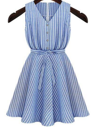 Blue V Neck Belt Striped Dress