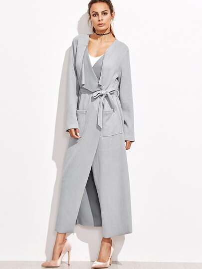 Grey Waterfall Collar Wrap Coat With Pocket