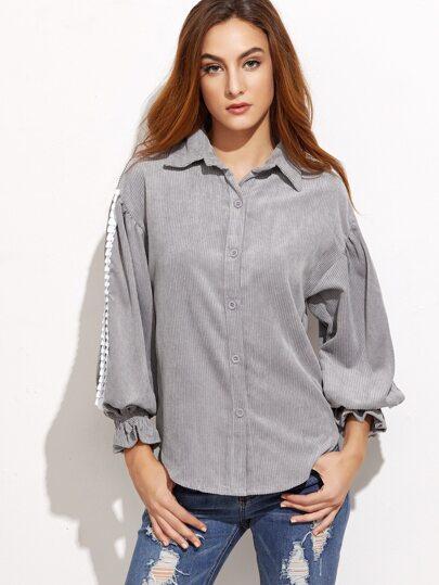 Grey Ruffle Trim Curved Hem Corduroy Shirt