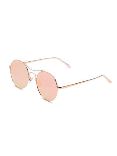 Metal Frame Double Bridge Pink Lens Sunglasses