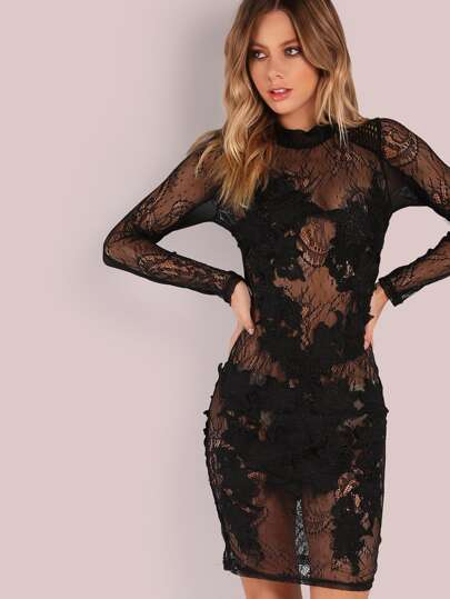 Floral Crochet Lace Applique Midi Bodycon Dress BLACK
