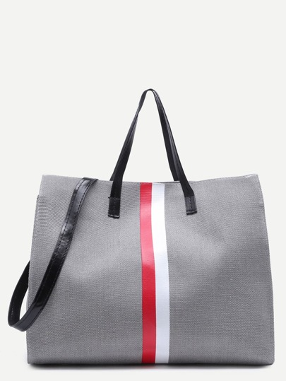 Grey Canvas Tote Bag With Strap