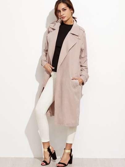 Gabardina larga con lazo en la cintura  - rosa