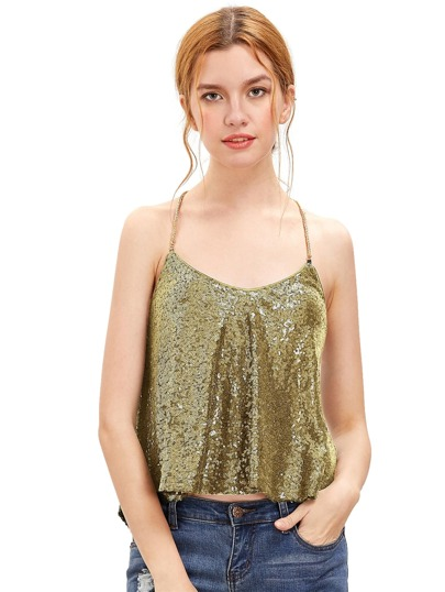 Or Criss Cross pailletée Cami Top