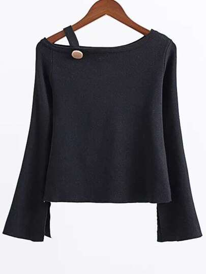 Black Button Embellished Boat Neck Slit Sleeve Knitwear