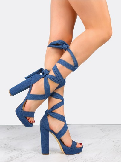Denim Wrap Platform Heels DENIM