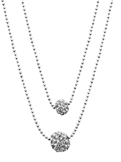 Silver Layered Rhinestone Ball Pendant Necklace