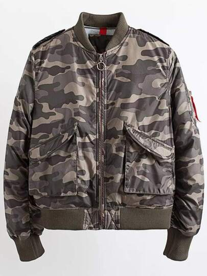 Army Green Zipper Up Quilted Camouflage Jacket