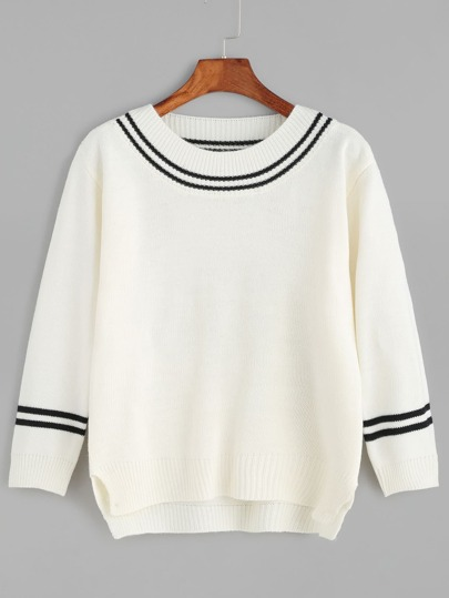 Beige Striped Trim Slit Side High Low Sweater