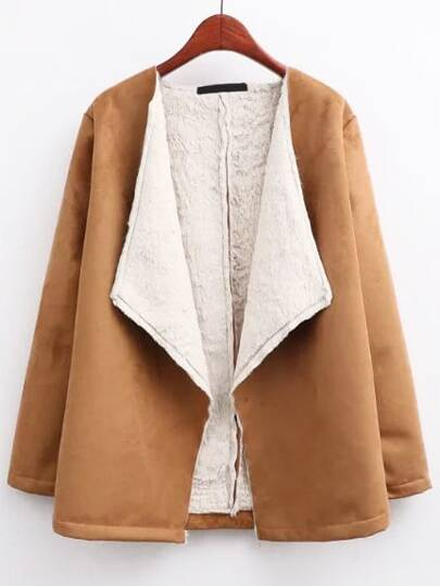 Khaki Draped Collar Suede Coat