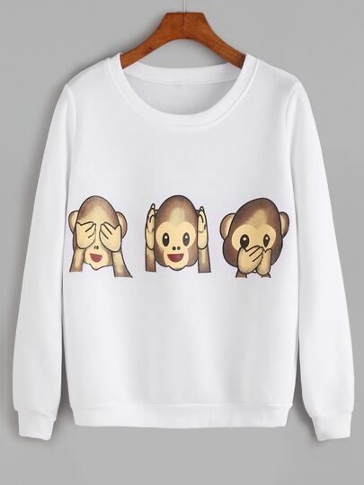 White Monkey Print Long Sleeve Sweatshirt