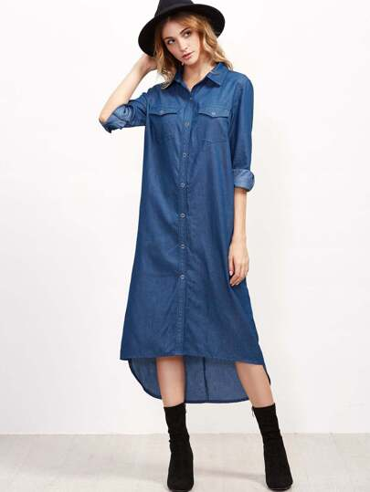 Blue Dual Pocket Front High Low Chambray Shirt Dress