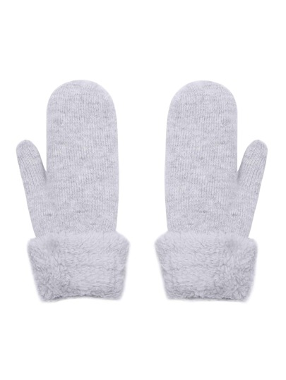 Light Grey Faux Fur Trim Foldover Mittens