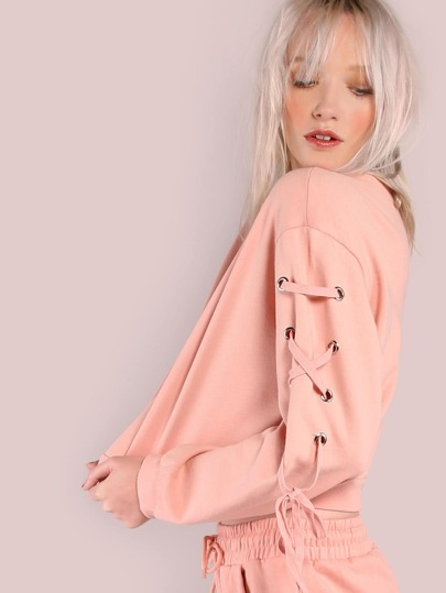 Cropped Lace Up Eyelet Shoulder Sweatshirt PINK
