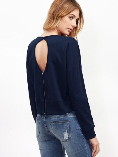 Navy Keyhole Zip Back Crop Sweatshirt