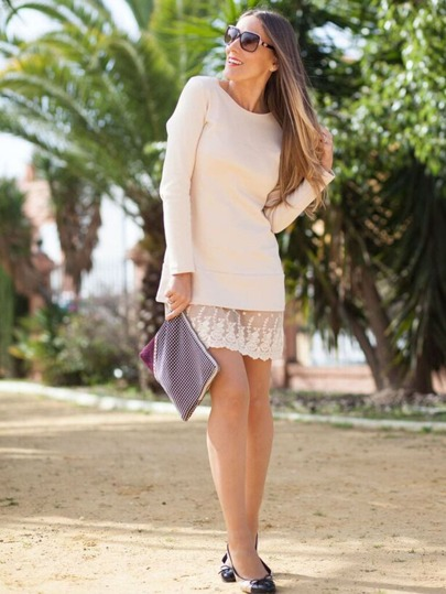Apricot Long Sleeve With Lace Dress