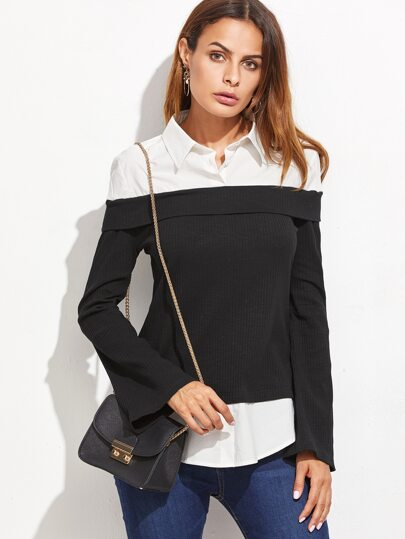 Contrast Pointed Collar 2 In 1 Blouse