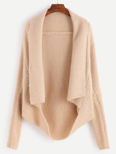 Pale Khaki Shawl Collar Poncho Sweater