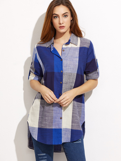 Roll Tab Sleeve Curved Hem High Low Plaid Shirt