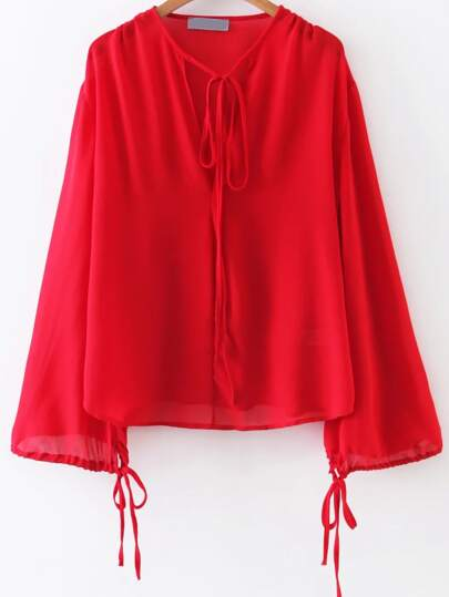 Red Tie Detail V Neck Chiffon Blouse