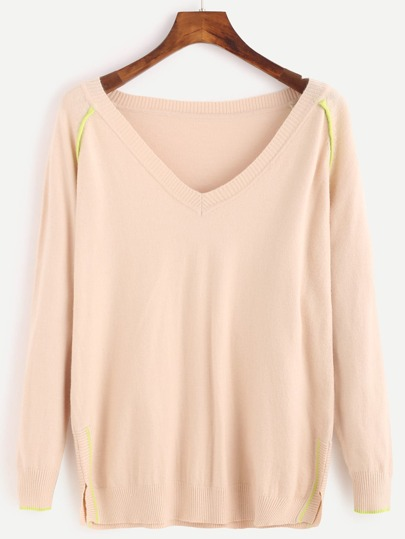 Apricot Contrast Trim Slit Sweater